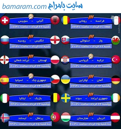 جدول زمانبندی مسابقات فوتبال یورو 2016