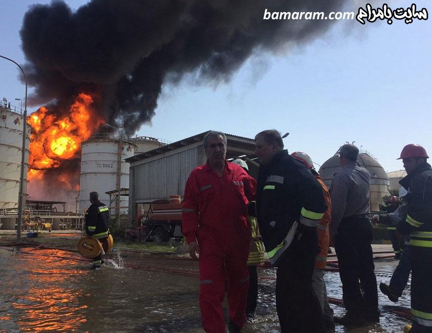 آتش نشان خاموش کردن آتش مخزن بوعلی سینا ماهشهر