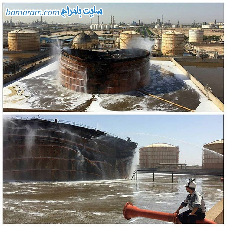مخزن بوعلی سینا ماهشهر پتروشیمی ماهشهر آتش سوزی در مخزن