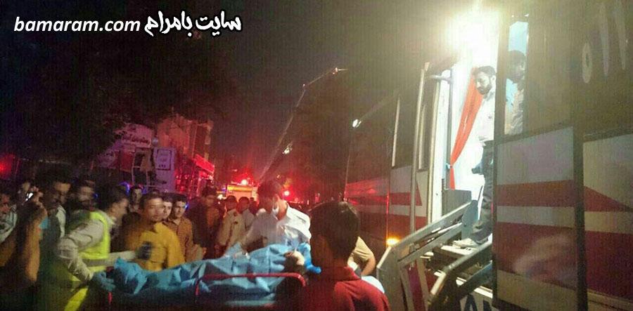 آتش سوزی برج سلمان مشهد مصدوم آمبولانس