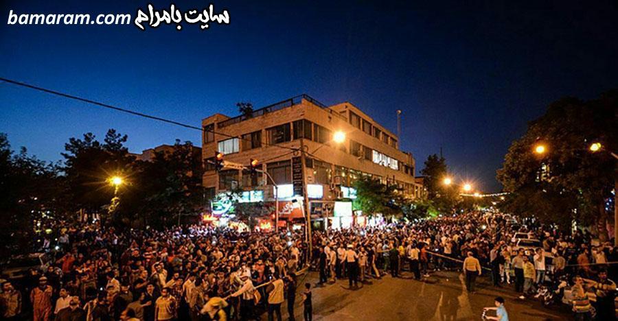 آتش سوزی در برج سامان مشهد تجمع مردمی